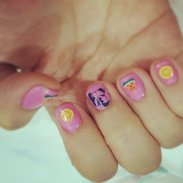 Tutti Frutti Summer Nails plus Bulldog on my middle finger 😂😂😂 #clozette #nails #friday #destress